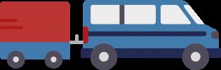 Minibus with trailer icon